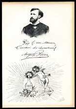 AUGUSTE PARIS.... biographie, autographe, et portrait gravé sur bois 1900
