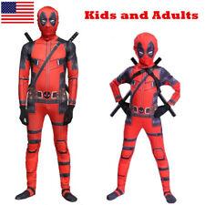 US! Adults Kids Deadpool Man Spandex Lycra Zentai Halloween Costume Cosplay Prop