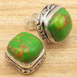 GREEN COPPER TURQUOISE Stud Earrings ! Silver Plated Over Solid Copper