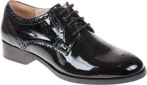 BNIB Clarks Ladies Netley Rose Black Patent Leather Brogue Shoes