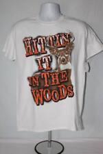 NEW Mens Graphic T-Shirt Size Medium White Hittin' It In Woods Deer Hunting Elk