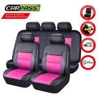Universal Car Seat Covers Airbag PU Leather Black Pink for SUV TRUCK VAN Sedan