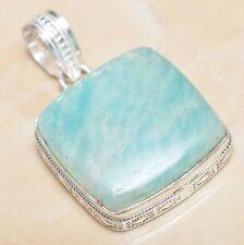 "Handmade Aquamarine Amazonite Jasper 925 Sterling Silver Pendant 1.75"" #P06870"