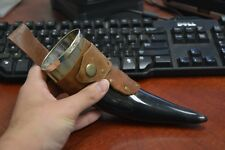 """BUFFALO HORN GAME OF THRONE MEDIEVAL DRINKING CUP LEATHER HOLSTER 10"""" #P"""