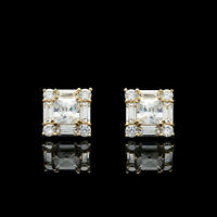 1.50CT Princess Baguette Diamond Cluster Studs Earrings 14K Yellow Gold Finish