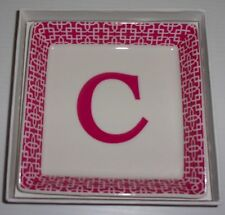 """TWO'S COMPANY DECORATIVE INITIAL TRAY """"C"""" PINK NWB"""