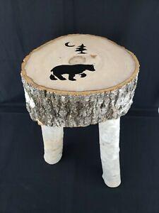"Handmade Real Birch Wood 3 Legged Stool Cabin Furniture Moon Tree Bear 18""H"