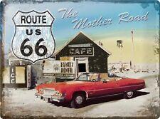 ROUTE 66 * CADILLAC OLDTIMER * AUTO * USA * BLECHSCHILD *NOSTALGIE* 30X40 * NEU!