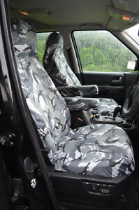 Grey Camo Tailored Waterproof Seat Covers Front for Land Rover Disco Series 3 4