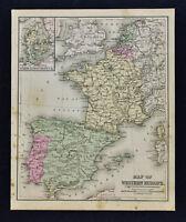 1887 Cowperthwait Map - West Europe - Spain Portugal France Belgium Holland