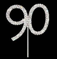 90th 90 DIAMANTE RHINESTONE CRYSTAL NUMBER PICKS CAKE TOPPER BIRTHDAY