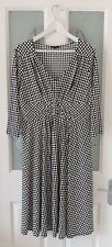 LINEA Black & White Irregular Spots Polkadots Jersey Dress Size 14 BNWOT RRP £80