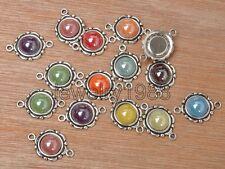 25pcs mixed color Ceramic Scrapbook Accessories Tibetan Silver charm Connectors