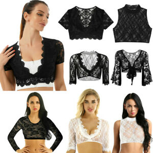 Sexy Womens Deep V Neck Lace Crop Top Summer Hollow Out T-Shirt Blouse Tank Tops
