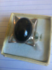 STERLING SILVER ONYX OVAL  RING.  (RRP.$65.00)         (18B)