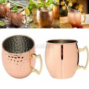 18oz Moscow Mule Mug Set Of 2 Hammer Copper Lacquered Stainless Steel Cup Gift