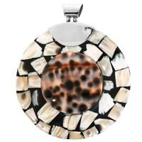 """2 3/8"""" TIGER COWRY MOTHER OF PEARL SHELL MOSAIC925 STERLING SILVER pendant"""