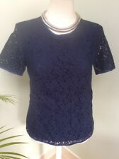 FRENCH CONNECTION NAVY CUT AWAY LACE TOP BLOUSE TUNIC SIZE 10