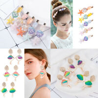 Stylish Girls Starfish Shell Hair Clips Barrette Colorful Shell Drop Earrings
