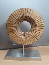 Unique abstract modernist wood and metal table sculpture about 10 x 7 x 3