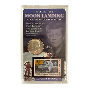 1969-D Uncirculated 40% Silver Kennedy Half Dollar Coin and Stamp Commemoratives