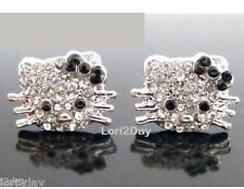 * HELLO KITTY* SPARKLING CRYSTAL RHODIUM PLATED Stud Earrings BLACK BOWS - RARE!