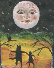 Moon face Stars Trick or Treat  Owl Black Cats Night Halloween Wall Art Print