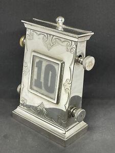 Antique Edwardian Silver Plated Perpetual Desk Calendar By Walker & Hall