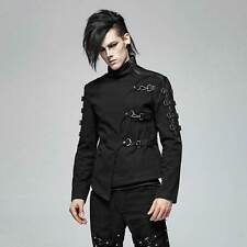 PUNK RAVE Gothic Jacke Herren Schwarz Asymmetr. Design Karabiner Straight Jacket