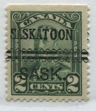 1929 KGV 2 cents Scroll with a Saskatoon precancel