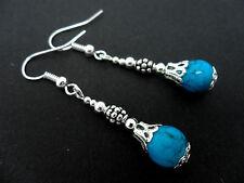 Un par de azul turquesa cuentas de Vidrio Pendientes Colgantes. Nueva.
