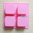Ice Cake Soap Mold 4-Cell Square Silicone Mould Handmade DIY For Candy Chocolate