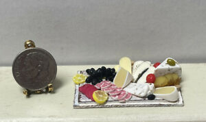 Artisan Wood Board Filled Cheese Fruit Olives Dollhouse Miniature 1:12