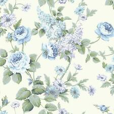 Wallpaper Raised Ink Roses & Wisteria Vine Blues Greens on White