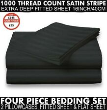 1000TC Egyptian Cotton King Fitted & Flat Sheet & 2 Pillowcase Bedset Black