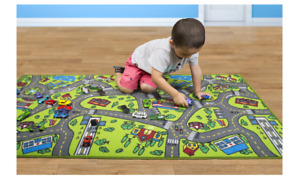 Kids Educational Road Traffic Playmat Rug City Life with Cars Play Learn Safely