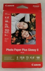 "Canon Photo Paper Plus Glossy II Inkjet Paper 4x6"" 100 Sheet Pack PP 201"