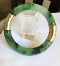 Estate Beautiful Green Jade In 14k Gold Hinged Bangle