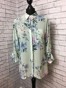 Warehouse Size 10 U.K Mint Green Floral Chiffon Shirt Women's adjustable sleeves