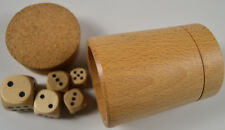 Wooden dice shaker with cork lid and dice hand finished, wood sealed board game