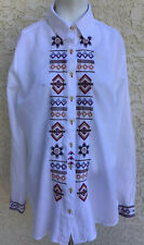 Johnny Was Cotton Pintuck Long Sleeve White Shirt Embroidered Tunic Sz Medium