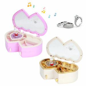Double Heart Shape Music Box Dancing Girl Musical Box Birthday Xmas Craft Gift