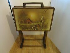 Set 4 TV Trays & caddy Andres Ospinas bullet nose  ends wood grain Atomic Retro