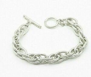 925 Sterling Silver - Frosted Texture Minimal Oval Link Chain Bracelet - B6875