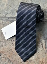 NEW Dior Classic Mans Silk Tie Black White 3 Stripes 100% Authentic Italy Made