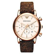 EMPORIO ARMANI AR1809 Classic Brown Leather Rose Gold Tone Ivory Dial Men Watch