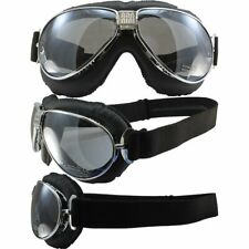 Nannini TT Hand-Sewn Black Leather Goggles Chrome Frames Silver Anti-Fog LenS