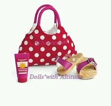 NEW American Girl SWIM TOTE & GEAR SET for dolls Sandals Bag AG Accessories