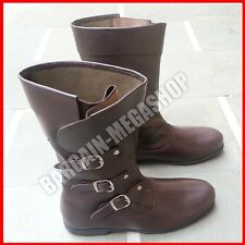 Mens Carnival Pirate Shoe 100% Leather Boots Medieval Fancy Dress Costume Boot