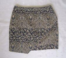 NWOT $59 H&M Jacquard Weave Above Knee Wrap Skirt ~ Black, Cream, Blue ~ Size 6